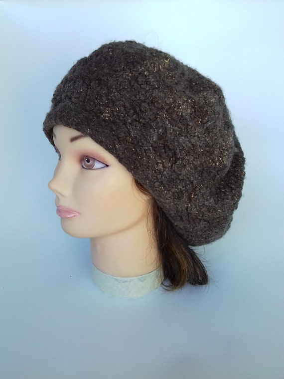 6a0220f7fbc French Beret Cap Felt Slouchy Hat Grey Wool beret Winter beret