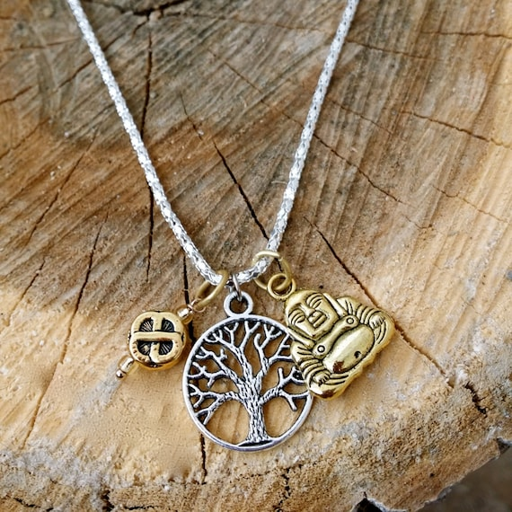Life is Good Bodhi Tree of Life Golden Buddha Endless Love Knot Pendant  Silver Necklace 18