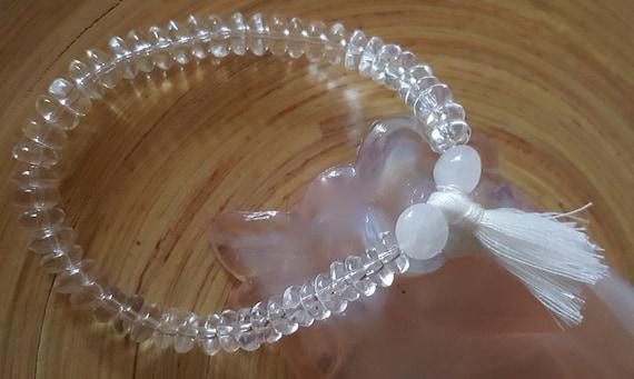 North Carolina White Azeztulite Crystal 4mm Mini Flower Silver Beaded Bracelet
