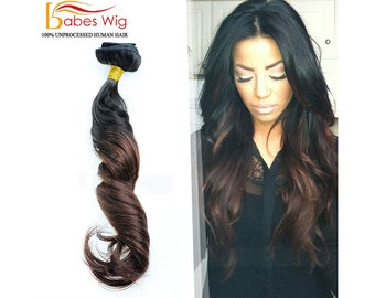 100% Real Human Hair Clips In Hair Extensions Full Set Ombre Hair Extensions     Black to Brown   Virgin Remy Clip-In Hair Extensions 6c9805f24a