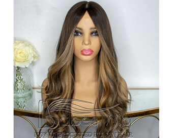 Highlights lace front wig human hair 100% Brazilian human hair wigs with  Baby Hair with pre plucked hair line Bleached 6 inches hair parting a2748d802