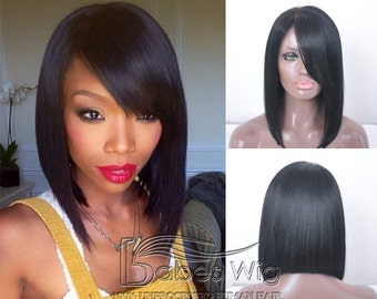 short bob hairstyles Human Hair Black Lace Front wigs and Glueless Full  Lace Wigs Bob Wig With left side Bangs cheap bob wigs under 200 c0bc0d4f78
