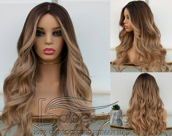 highlights full lace wigs 100% Brazilian human hair lace front wigs with  Baby Hair with pre plucked hair line Bleached for women ace77aa28
