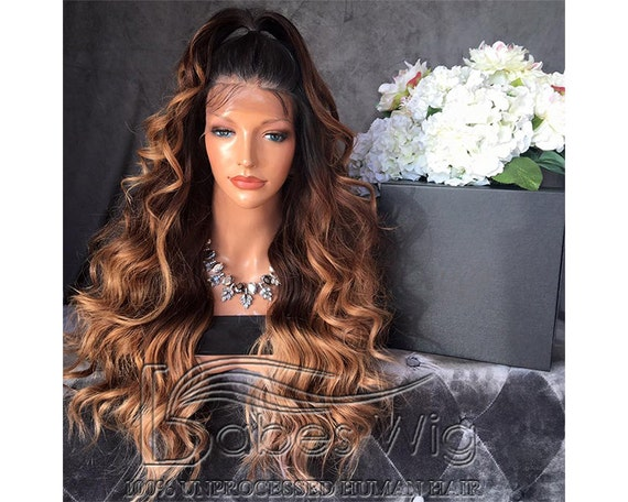 Ombre Full Lace Wig Human Hair 3 Tone Ombre Lace Front Wig