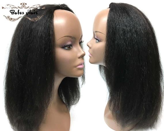 Human Hair Kinky Straight outre half wigs For Black Women  8b01234e7