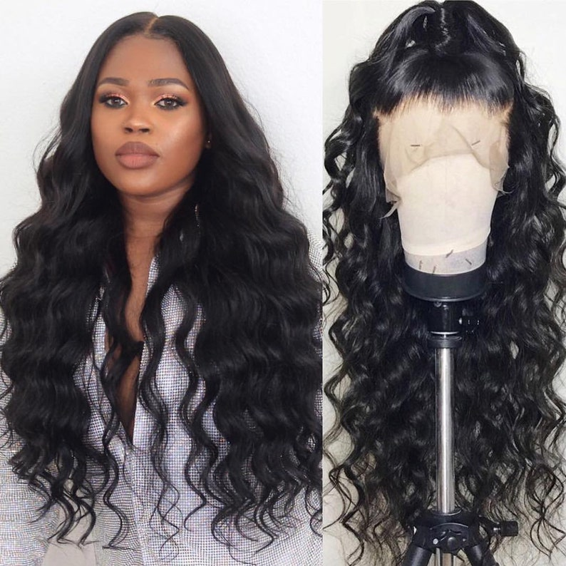75a1db781 100% Real Human Hair Loose Wave 13x6 lace front wigs for black | Etsy