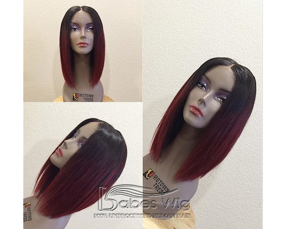 Short Human Hair Red Ombre Hair Color Human Hair Lace Front Etsy