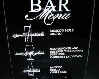 "BAR SIGNS --  8""x10""  Wedding - Bar Mitzvahs - Logo/Branding - Event - Glowing - lluminated  - engraved acrylic"