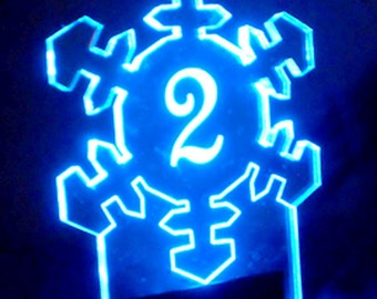 Snowflake Winter Table Number -- or Special Cut  Glow - Illuminated  - engraved acrylic