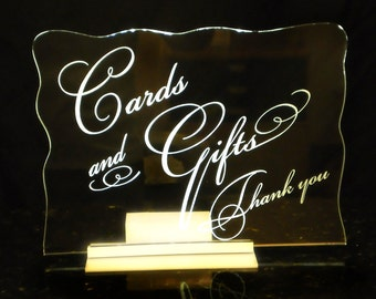 Card and Gifts Sign - Wedding - Bar Mitzvahs - Logo/Branding - Event - Glowing - lluminated  - engraved acrylic