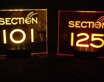 Sport Stadium Section Table Number -- Glowing - Illuminated  - engraved acrylic