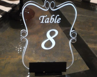 Table Number -- Illuminated  - engraved acrylic