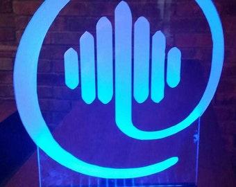 CORPORATE LOGO Illuminated Centerpiece - Corporate Branding - Round Acrylic - Glowing LED