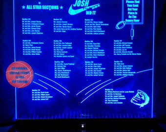 Bar Mitzvah - Sport - Glowing - Illuminated TABLE SEATING CHART - Acrylic - Engraved
