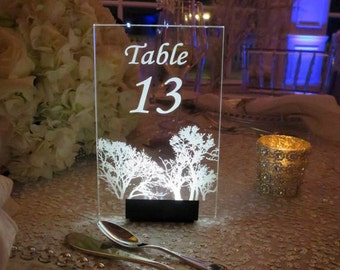Table Number --CUSTOM to your WEDDING THEME-  Glow - Illuminated  - engraved acrylic