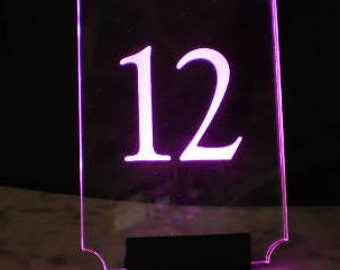 Table Number -  Glowing Number - LED Number - Illuminated  and engraved - Lighted Number - Price per number