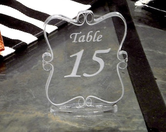 Table Number --engraved acrylic