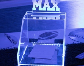 GIFT CARD BOX --- Glowing - Illuminated - Wedding or Bar Mitzvah - personalized with graphic and names