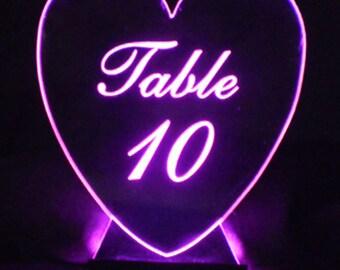 Heart Table Number --  Glow - Illuminated  - engraved acrylic