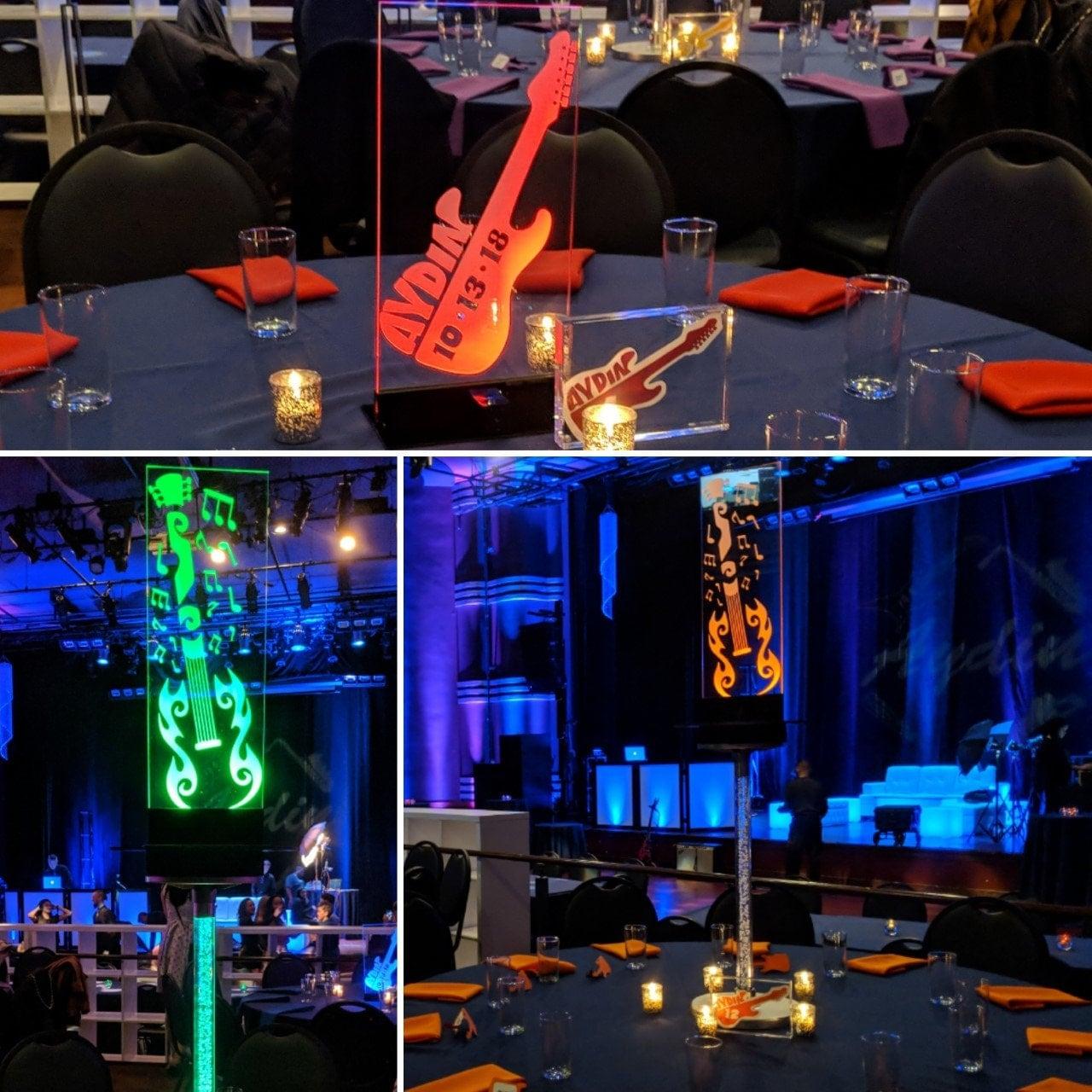Outstanding Music Theme Illuminated Glow Centerpiece Bar Bat Mitzvah Interior Design Ideas Ghosoteloinfo