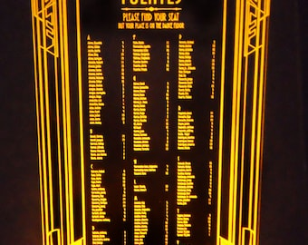 Art Deco - Gatsby - Illuminated TABLE SEATING CHART - Acrylic - Engraved