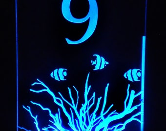 Beach- Ocean-Nautical - Table Number - Glow - Illuminated  - engraved acrylic