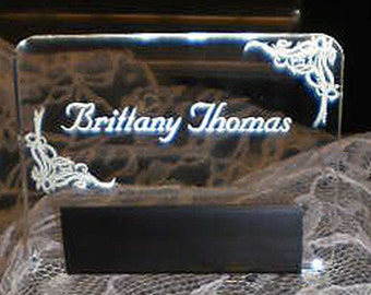 Place Card - Illuminated - Glow - engraved