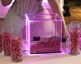 Heart Candy  Box --- Glowing - Illuminated - Bat Mitzvah - Birthday - Quincenera -personalized with graphic and names