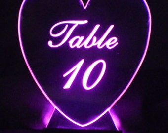 Heart Table Number --  Glow - Illuminated  - engraved acrylic