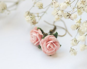 Pink Rose Earrings, Botanical Jewelry, Plant Earrings, Flower Girl Earrings, Cute Pink Floral Jewelry, Rose Earrings