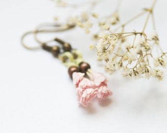 Wild Flower Earrings, Pastel Floral Earrings, Botanical Jewelry, Bohemian Gift, Cute Pink Flower Jewelry