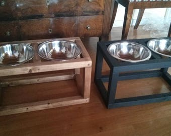Wood Raised Dog Feeder, Double Dog Feeder, Dog feeding station, Pet Feeder  with two elevated stainless steel food bowls,Modern Feeder