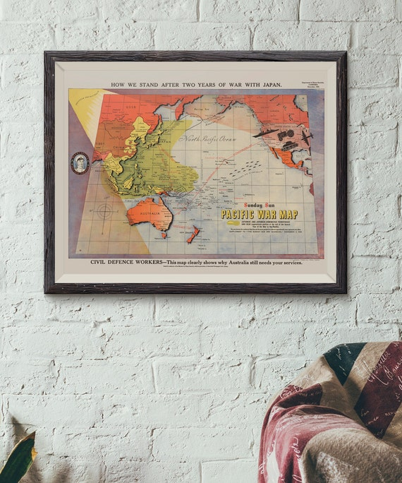 Pacific War Map - Reproduction of old government map describing our place  in the war - Map replica of vintage style war map