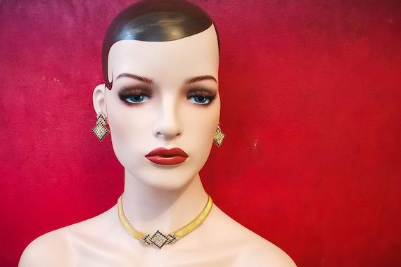 80s Deco Choker and Earring Set