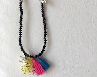 Unicorn, necklace with unicorn, beaded necklace, unicorn, gift idea