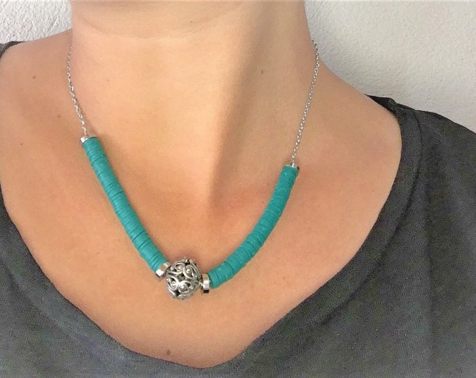 steel closure crew neck necklace with green heishi beads and steel chain Indian silver pearl handmade