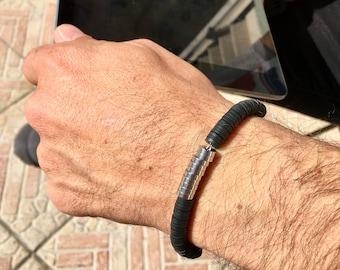 Men's bracelet in steel, bracelet with heishi beads and steel, bracelet with closure, gift idea for men, handmade
