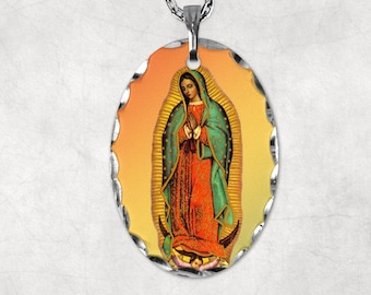 Pendant, Oval, Florentine edging, Our Lady of Guadalupe, on necklace