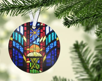 Faux Stained Glass Round Acrylic Ornament, Nativity Scene