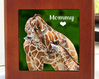 Mahogany Finished Box w/Hinge Lid, 6.5 x 6.5 with Photo of Giraffe Mom and Child Customize