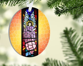 Faux Stained Glass Oval Acrylic Ornament, Guardian Angel