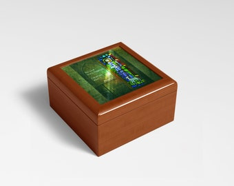 Mahogany Finished Box w/Hinge Lid, 6.5 x 6.5 with Photo of Stained Glass Christ the Shepard