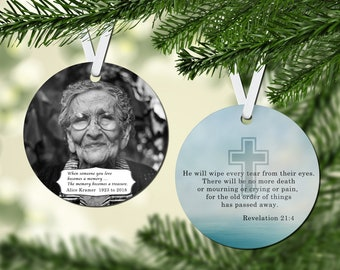 In Memorium Round Christmas Tree Ornament, 2 Sided, Design Your Own