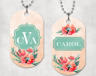 Dog Tag - floral personalized, two sided, necklace