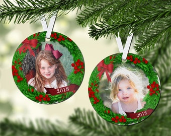 Gloss White Round Christmas Tree Ornament, 2 Sided, Design Your Own