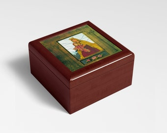 Mahogany Finished Box w/Hinge Lid, 6.5 x 6.5 with Photo of Stained Glass Our Lady of Mount Carmel