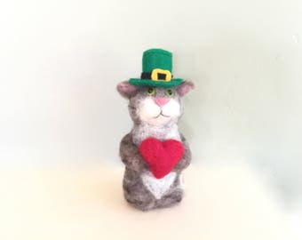Irish cat figurine in a hat , needle felted cat figurine , green irish decor st. patrick day gifts for women red heart clover shamrock cute