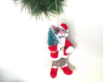 Needle felted cat ornament Christmas handmade animal gift for cat lover felt felting kitty kitten red hat Santa tree lights decor for women