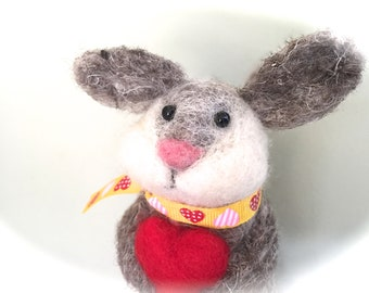 Needle felted bunny , cake topper baby shower bunny rabbit cotton tail hare felt woodland decorations critters red heart gift unique cute