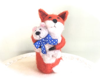 Needle felted baby Fox figurine , baby shower cake topper , Teddy Bear , baby animal , vixen dog fox tod pup kits cub felt wool felting gift